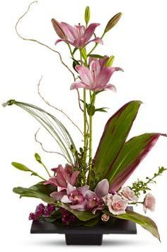 Teleflora Imagination Blooms [TFWEB501ff f] - $94.95 : Pembertons Flowers - Pink Asiatic lilies rise up from a square design block holding a mix of cymbidium orchids, spray roses and accent blooms and greenery.