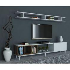 Meuble TV avec étagère Alex - Blanc et bois