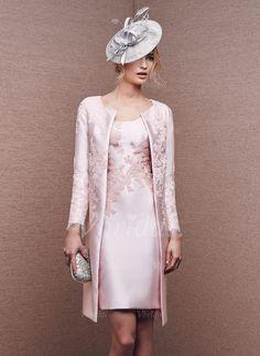 Etui-Linie U-Ausschnitt Knielang Applikationen Spitze Satin Reißverschluss Reguläre Träger Ärmellos Ja 2015 Blushing Pink Frühling Sommer Herbst Kleid für die Brautmutter
