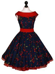 Spodnička šaty 50s tmavě modrá, zelená, červené třešně