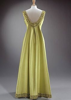 This green silk dress with jewelled embroidery was worn by the Queen of England during a state visit to Ethiopia in February 1965