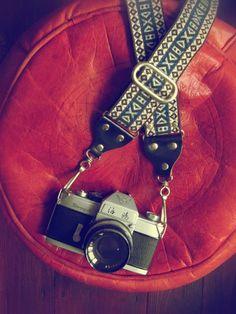 i love this vintage camera strap.