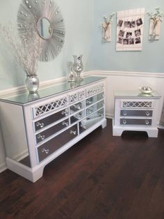 Mirrored Dresser and Matching Nightstand Pure White with Quatrefoil overlay, Mirrored Bedroom Set, Annie Sloan pure white chalk paint