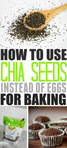 How to use superfood chia seeds as an egg replacement in baking! How to use superfood chia seeds as Egg Replacement In Baking, Vegan Recipes, Cooking Recipes, Chia Seed Recipes Vegan, Chi Seed Recipes, Vegan Desserts, Delicious Desserts, Dessert Recipes, Chai Seed