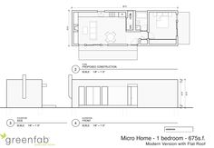 Greenfab's cottage home- 1 bedroom at 675sf with flat roof