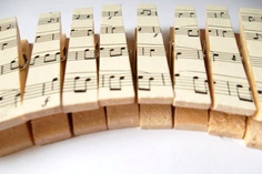 Vintage Sheet Music Decorated Clothespin Picture or Card Hangers - Set of 10. $12.00, via Etsy.