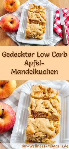 Rezept für Low Carb Apfel-Mandelkuchen: Der kohlenhydratarme, kalorienreduzierte Kuchen wird ohne Zucker und Getreidemehl zubereitet ... #lowcarb #kuchen #backen