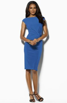 Lauren by Ralph Lauren Twisted Jersey Boatneck Sheath Dress available at #Nordstrom