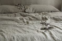 Queen size Linen duvet cover and 2 pillowcases, stonewashed
