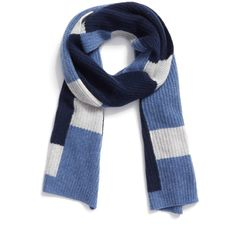 Halogen Colorblock Knit Cashmere Scarf (532.080 IDR) ❤ liked on Polyvore featuring accessories, scarves, navy combo, halogen scarves, navy blue shawl, navy shawl, knit shawl and knit scarves