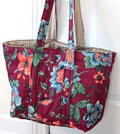 Project to transform a bedspread into 7 sturdy re-usable grocery tote bags.