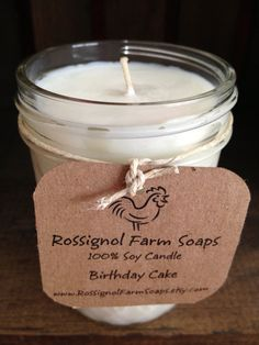 Birthday Cake Soy Candle in 8oz Jelly Jar by RossignolFarmSoaps, $7.00