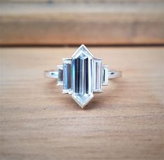 Rustic Engagement Rings, Diamond Engagement Rings, Hexagon Engagement Ring, Hairstyle Curly, Art Deco Jewelry, Fine Jewelry, Baguette, Size 4 Rings, Thing 1