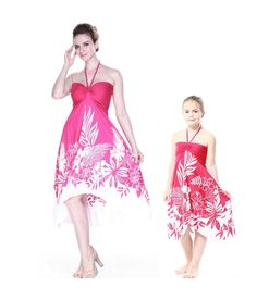 Matching Mother and Daughter Women and Girl Butterfly Dresses in Indri Pink