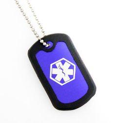 Blue Medical Dog Tag Necklace