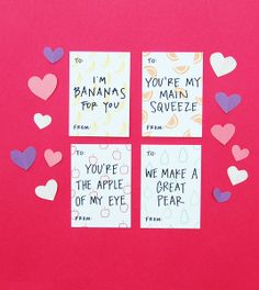 Happy Cactus Deisgns Kids Valentines - Friendly and Fruity Mini Valentine's Day Cards Pack of 8