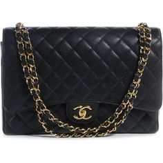 CHANEL Caviar Maxi Double Flap Black ❤ liked on Polyvore featuring bags, handbags, shoulder bags, purses, bolsas, chanel, man bag, genuine leather handbags, chanel purses and leather shoulder bag
