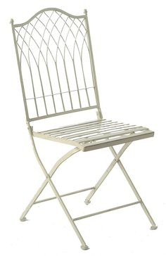 Ascalon Hampton Folding Chair in Cream. Made from stylish and sturdy metal ideal for outdoor use. Features a folding back for easier storage. Finished in cream coloured paint. From Lock Stock and Barrel Furniture.