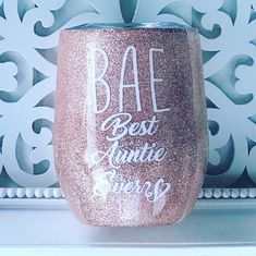 Items similar to BAE Best Aunt Ever Rose Gold Glitter 12 Ounce Stemless Wine Tumbler With Lid Stainless Steel Gift For Aunt Sealed With Epoxy on Etsy Diy Tumblers, Tumblers With Lids, Custom Tumblers, Glitter Tumblers, Glitter Cups, Rose Gold Chrome, Rose Gold Glitter, Glitter Flats, Thermos