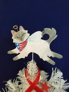 July 4th Decor ~ Cat Tree Topper ~ Patriotic Cat ~ Mini Tree Topper ~ Himalayan Cat ~ Flag Bandanna ~ Persian Cat ~ Cat  Decoration by KittyCatArtStudio on Etsy