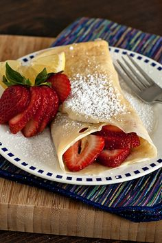 Strawberry Lemonade Crepes. My favorite basic #crepe recipe and a #strawberry #lemon filling that is to die for!