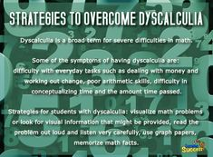 Strategies to Overcome Dyscalculia: Dyscalculia makes math hard, but there are… Dyslexia Activities, Dyslexia Strategies, Math Resources, Act Math, Math Test, Maths, Autism Learning, Learning Disabilities, Teaching Special Education