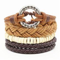 4 Pcs Fashion Vintage Feather Leather Bracelet For Unisex Jewelry Women Jewelry, Men's Jewelry, Bracelet Set, Types Of Metal, Leather Men, Feather, Vintage Fashion, Unisex, Chain