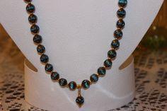 8 Cut Luster Edge Aqua Glass Beaded Necklace by AngeleDesignsLA