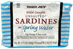 Unsalted Sardines in Spring Water, (Pack of 3), 3.75 oz Tin - Trader Joe's -- Learn more by visiting the image link. (This is an affiliate link) #KetogenicDietPlan