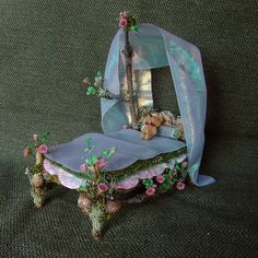 Miniature Fairy Bed with Roses by Torisaur, via Flickr