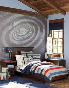 Outer space bedroom themes | Great Outer Space Themed Bedroom : Space Themed Bedroom Ideas ... Maybe paint a large canvas similar to the wall
