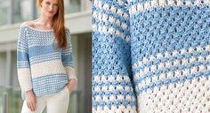 Un peu over-size, donc super confortable, ce pull à rayures tricoté dans un point fantaisie à trou-trous ne manque pas pour autant d'élégance. Moralité ? On le tricote de toute urgence. ...