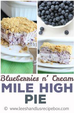 Blueberries N Cream Mile High Pie on MyRecipeMagic.com