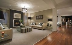 Dark feature wall with gas fire