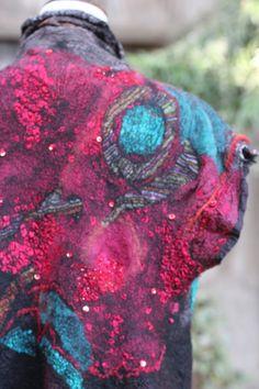 Studio 907: Kimono Nuno Felted Vest - Cinnabar and Turquoise