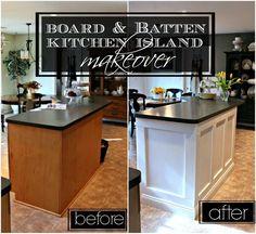 Board & Batten Kitchen Island Makeover