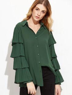 Dark Green Pleated Layered Sleeve Blouse