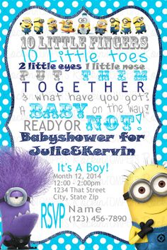 Minion Ba Shower Invitations Minion Ba Shower Invitations In for proportions 736 X 1104 Minion Baby Shower Invitation Template - The idea is for every Baby Shower Diapers, Baby Shower Cards, Baby Shower Parties, Shower Party, Minion Baby Shower, Baby Shower Invitation Templates, Invitation Ideas, Birthday Party Invitations Free, Star Baby Showers