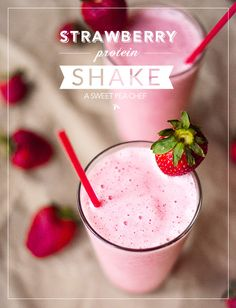 Strawberry Protein Shake by Lacey Baier, A Sweet Pea Chef. This video is a recipe for a delicious, high-protein and healthy Strawberry Protein Shake. Not only is it super tasty, it's also very filling as a meal. Strawberry Protein Shakes, Vanilla Protein Shakes, Vanilla Protein Powder, Healthy Shakes, Healthy Drinks, Protein Powder Shakes, Healthy Protein Shakes, Protein Mix, Healthy Recipes