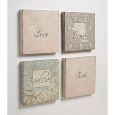 Set of 4 Canvas Pictures - Love, Faith, Beleive, Dream