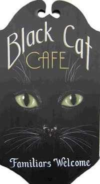 King Of Mice Studios - Black Cat Cafe Familiars Welcome - Halloween Cute sign for porch Halloween Signs, Holidays Halloween, Halloween Crafts, Halloween Decorations, Halloween Table, Halloween Black Cat, Halloween Kitchen, Halloween Painting, Halloween Stuff