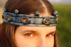 MADE TO ORDER  Medieval silver crown with blue gems headdress