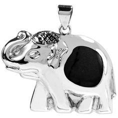 Sterling Silver Thai Elephant Inlaid Stone Pendant