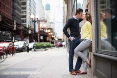 Chicago city streets - engagement session photo with She Sees Photography.