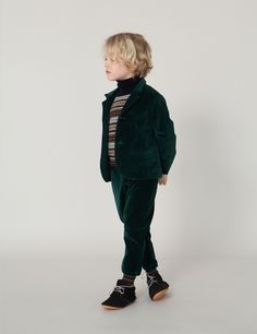 corduroy jacket and pants in navy, angora wool sweater patterned horizontal lines