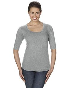 6288294d Anvil Semi-Fitted Silhouette Ladies Triblend Deep Scoopneck 1/2 Sleeve  T-Shirt. 6756l - X-Large - Heather Grey