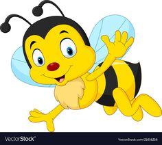 Cartoon happy bee waving vector image on VectorStock Bee Crafts For Kids, Bee Pictures, Cartoon Bee, Teacher Stickers, Butterfly Art, Classroom Themes, Preschool Activities, Vector Free, Clip Art