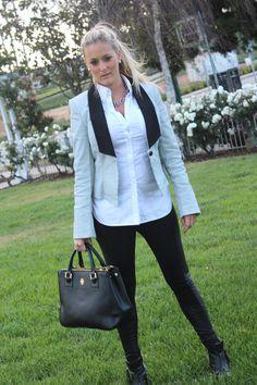 @TACORI, #earrings, #silver, #blazer, @Kohl's, #white, #black, #leather, #leggings, @Arden Illyria B. @FOREVER.com 21 #boots, #studs, @Ja Ha