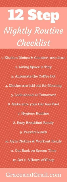 Evening routine for a smooth organized morning, homemaker tips Evening Routine, Night Routine, Morning Routines, Bedtime Routine, This Is Your Life, Life Organization, Time Management, Planners, Better Life