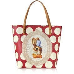 Vivienne Westwood Handbags Bunny Print Tote Bag ($275) ❤ liked on Polyvore featuring bags, handbags, tote bags, red, white tote bag, red purse, handbags & purses, shopping tote and white shopping bags